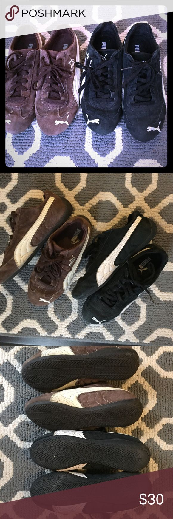 BOGO Pumas! Get 'em 👟👟 Listing is for both pairs! 1 black and 1 brown pair of Puma suede Speedcats. Barely worn. Great condition! Puma Shoes Athletic Shoes
