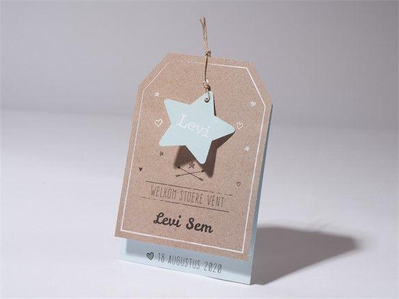 Trendy geboortekaartje in de vorm van een label dat aan de voorzijde is voorzien van stoer touwtje en ster. Dit geboortekaartje is naast mint kleur ook in roze en licht blauw verkrijgbaar. Tevens kan er gekozen worden voor een ster applicatie, hartje of label. Prijs vanaf € 1,98