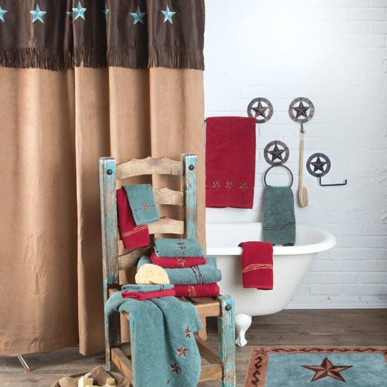 Turquoise Star Shower Curtain Western Bathroom