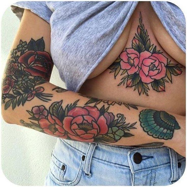 Coolest Tattoos for Women - Rose Underboob Arm Pinup - MyBodiArt.com