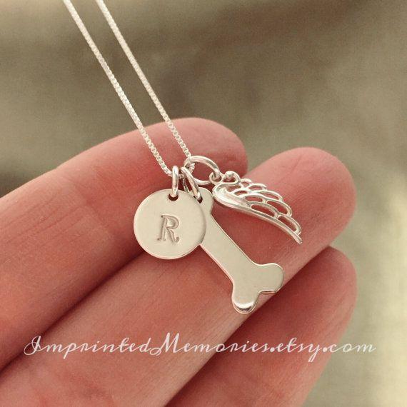 In Memory of a dog Necklace TINY birthstone von ImprintedMemories