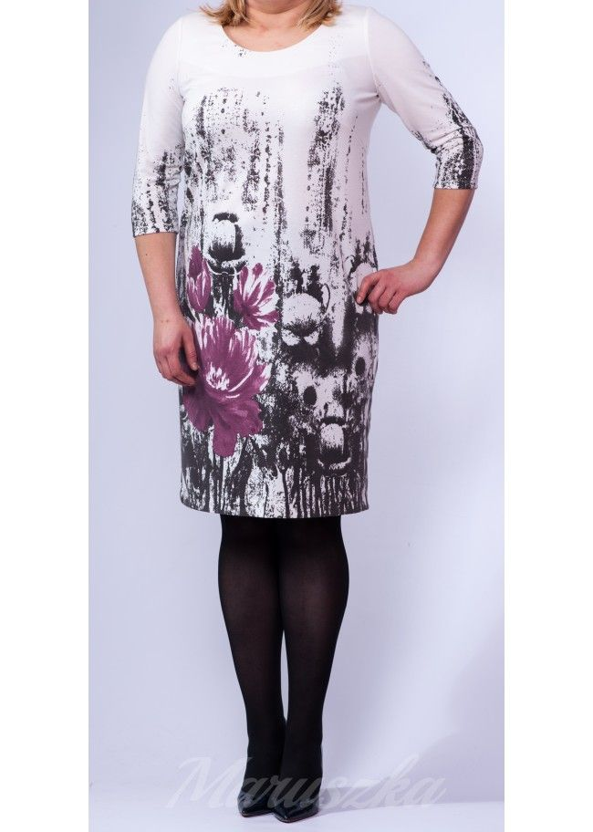 Dress RITA FLOWERS - Plus Size, WHITE & FLOWERS, 40$/EUR + shipping cost