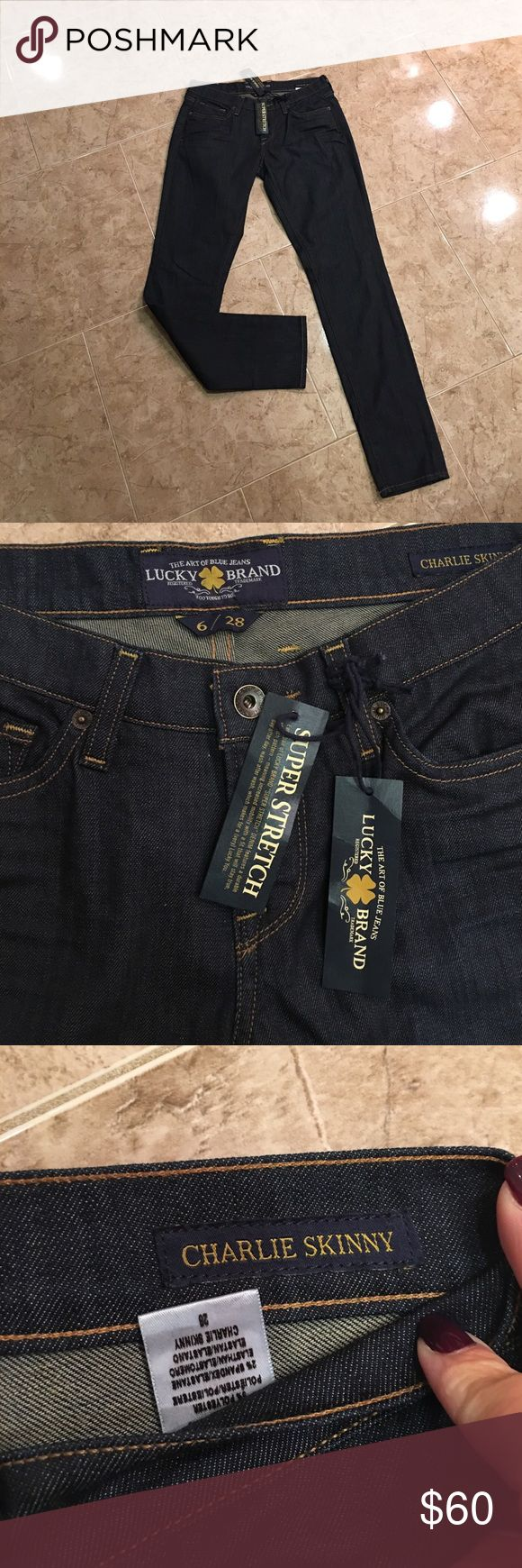 Lucky Brand Jeans BRAND NWT! Lucky Brand Jeans Brand New! Dark Blue Jeans with Brown stitching. Great for casual wear , hanging out with friends or going on a date! Willing to negotiate all prices! Lucky Brand Jeans Skinny