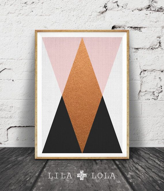 Geometric Print, Pink Copper Black Print, Geometric Art, Scandinavian Print Wall Art Decor, Geometric Triangles Poster, Copper Decor