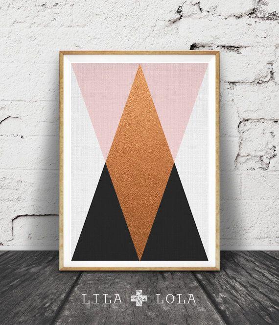 Geometric Wall Art, Copper Print, Pink Black Decor, Modern Minimalist, Printable…