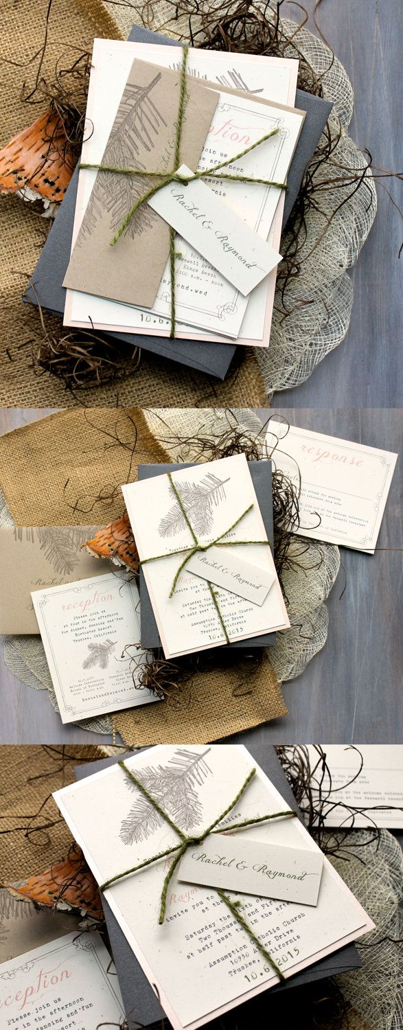 Enchanted Forest Wedding Invitations, Rustic, Chic, & Elegant Wedding Invitations, Moss Twine, Peach, BeaconLane
