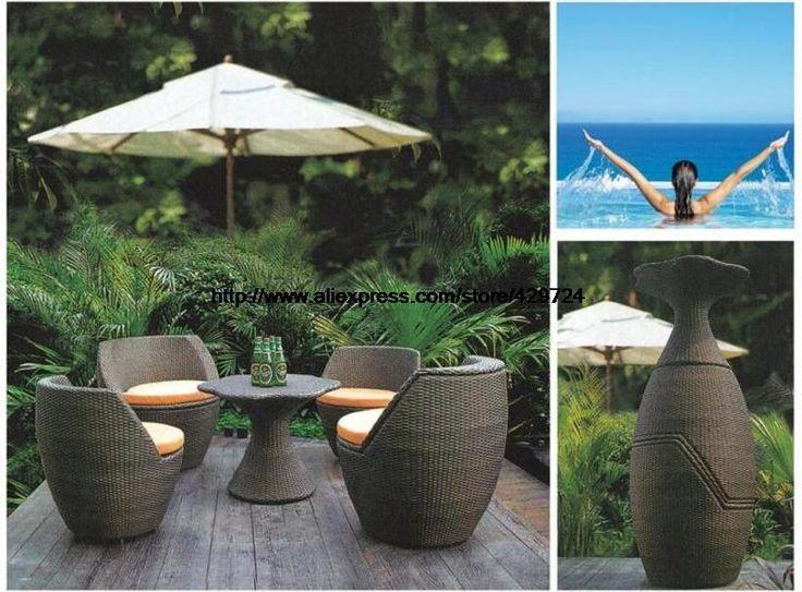 Creative Rattan Furniture Set Vase Combination Outdoor Sofa Garden Sofa Chair Table Patio Wicker Furniture Combination HFA111