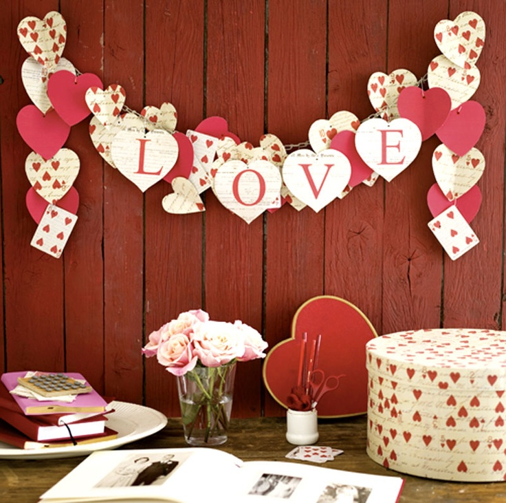Valentine love banner, heart cards.  Valentine's Day decoration for home.
