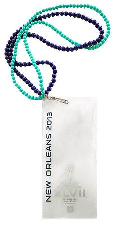Super Bowl XLVII (47) Mardi Gras Beaded Lanyard with Ticket Holder
