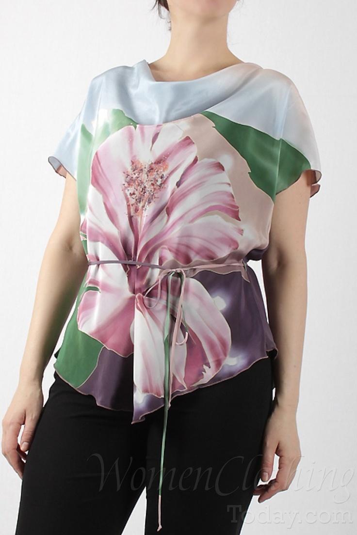 womenclothingtoday.com Silk Blouse Pink Flower 2