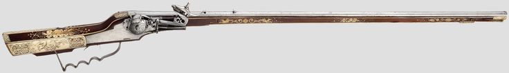 """http://www.hermann-historica.de/auktion/hhm66.pl?f=NR_LOT&c=%20%2024&t=temartic_S_GB&db=kat66_s.txt  A small-bore wheellock rifle, Hieronymus Borstorffer, Munich, circa 1610   Slender octagonal barrel with slightly flared muzzle, six-groove rifled bore in 6 mm calibre. Dovetailed sights, at the breech barrel maker's mark """"GM"""". Wheellock with external wheel, the wheel housing with two engraved seahorses. Spring-loaded pan cover, set trigger. The cock with the original flint of pyrite with…"""