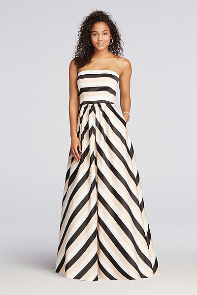 Striped Strapless Dress with Pockets A17644