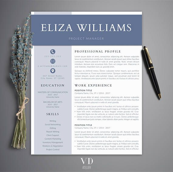 Resume Template CV Template for MS Word Creative Resume