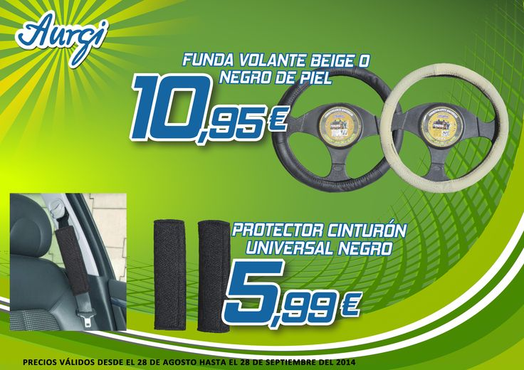 Oferta Verano (28 de agosto al 28 de octubre 2014) - Funda de volante beige o negro de piel y Protector cinturón Universal negro. Más información en www.aurgi.com/