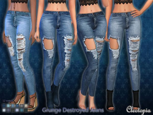 The Sims Resource: Set 39- Grunge Destroyed Jeans by Cleotopia • Sims 4 Downloads