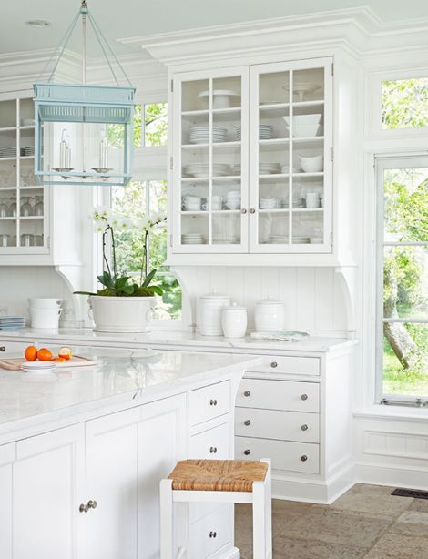 Coastal Style: Hamptons Chic Crown Moulding, light fixture with white cabinets. Would do wide plank european oak wood floor and have a bit more color in countertop