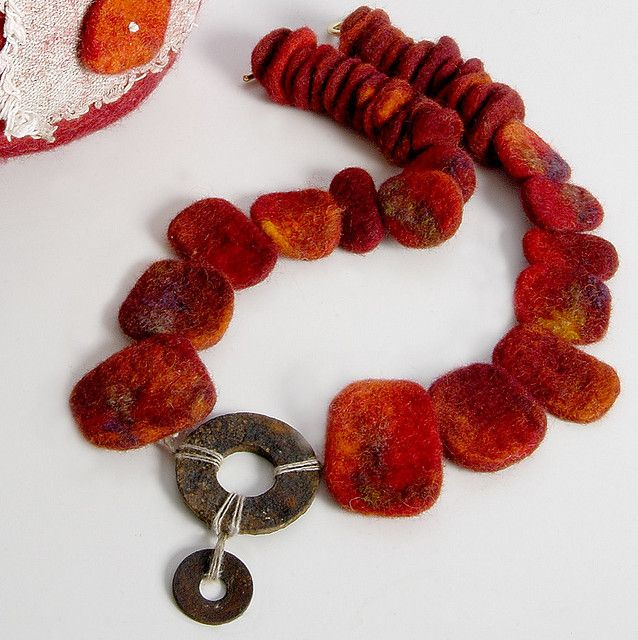 Cropped necklace with metal | Nicola Brown Follow Necklace made from felt and found object