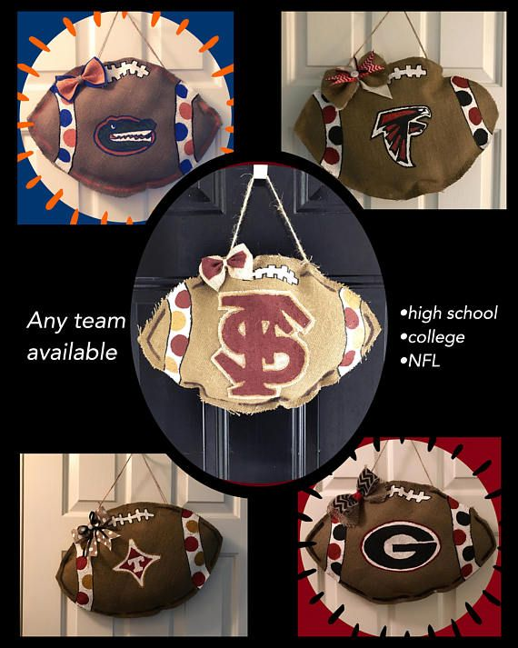 Burlap Football Door Hangers. We can customize for any sports team, whether it be high school, college, or NFL. We even offer a house divided design.