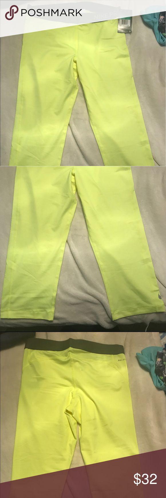 Neon yellow Nike Capri Brand new neon yellow Nike Capri pants. Size XL. Smoke free and pet free home Nike Pants Capris