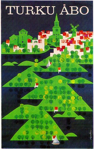 Martti A. Mykkänen Illustration  Tourism poster for the Finnish town of Turku. From Graphis Annual 66/67.