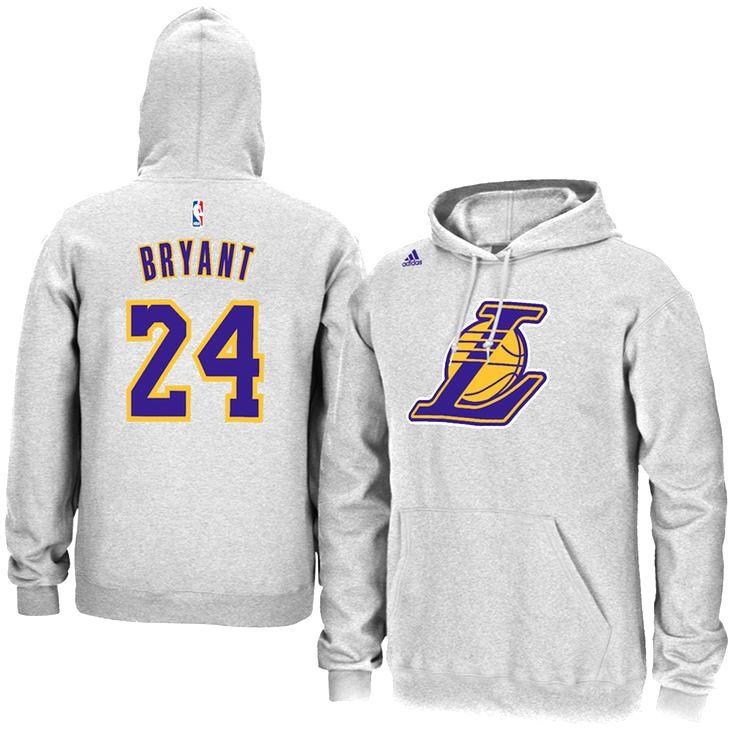Kobe Bryant Los Angeles Lakers adidas Name & Number Pullover Hoodie – Gray - $55.99