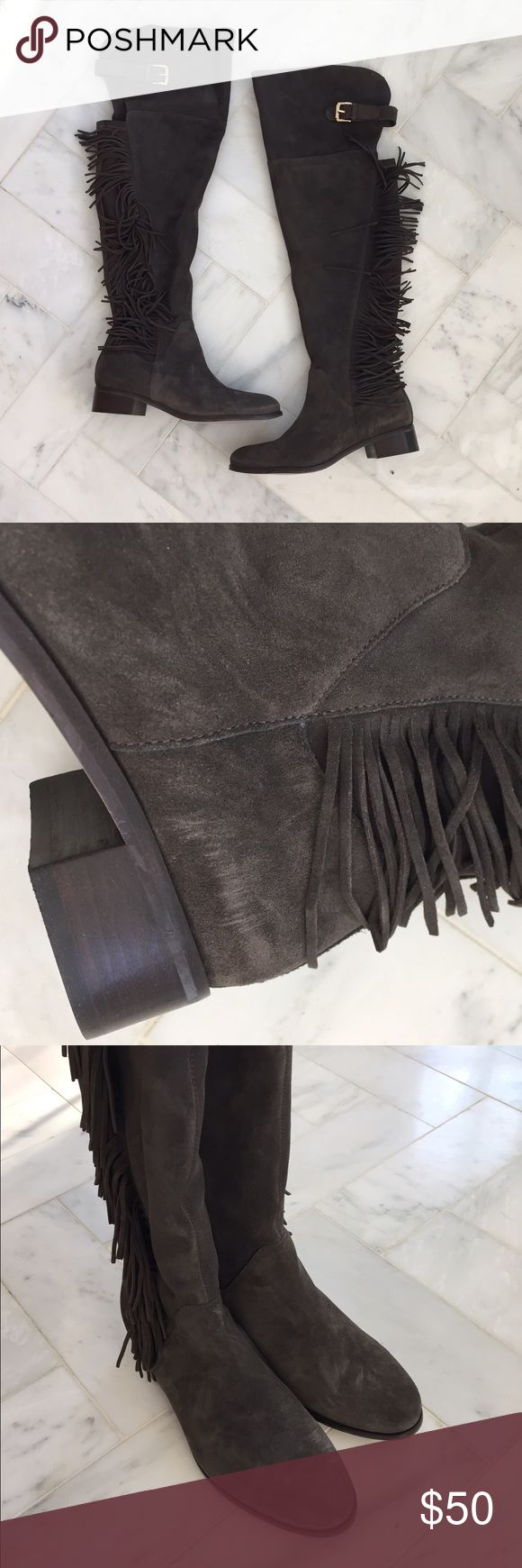 Grey suede fringe over the knee stretch boots new New, so cute!! Got at a sample sale Shoes Over the Knee Boots