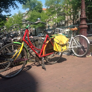 Beautiful bike, sunny sky, gorgeous day..... Amsterdam.