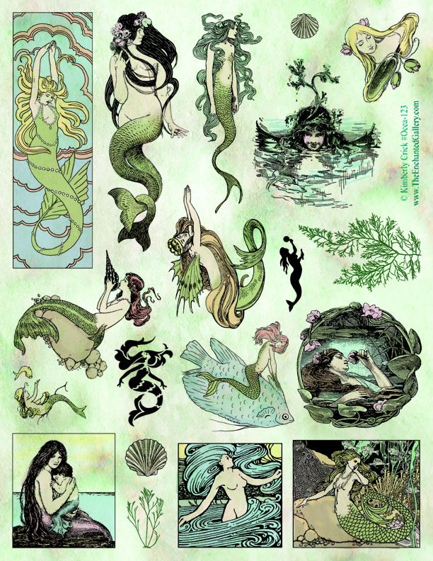 Mermaid rubber stamps siren lady of the lake Art Nouveau bookmark vintage book fairytale illustrations