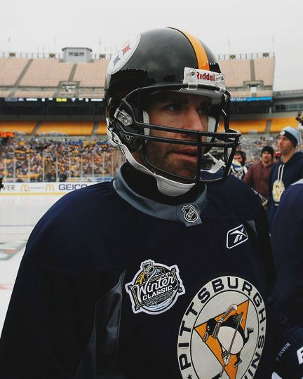 duper in a steelers helmet at practice for the 2010 winter classic | pittsburgh penguins hockey #nhl