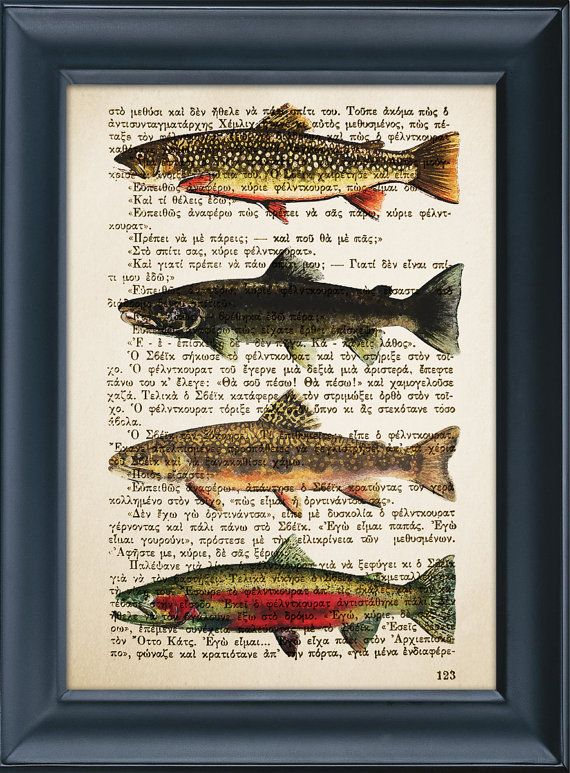 Salmon Fish Print, Vintage Book Page Literature, Home Wall Office Kitchen  Decor, Gift