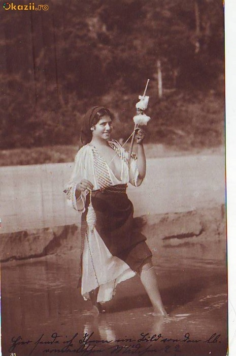 vintage romanian girl at the river...