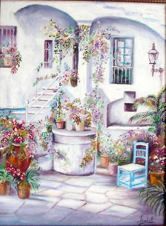 Pintura al oleo patio andaluz arte pinterest - Fotos patio andaluz ...