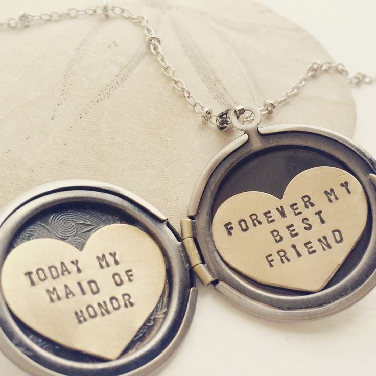 Personalized bridesmaid gift, Will You Be My Maid of Honor, Be my MOH necklace, Maid of Honor gift, Bridesmaid gift, heart locket necklace by soradesigns on Etsy https://www.etsy.com/listing/293580419/personalized-bridesmaid-gift-will-you-be