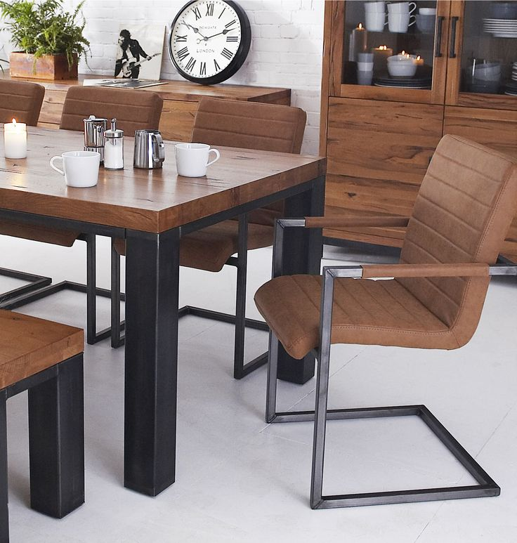 Get the industrial look with the Abbotswood collection - Solid oak tops on a steel base - see more on our website http://www.aworldoffurniture.co.uk/brands-en/abbotswood/