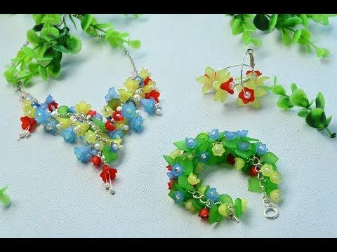 PandaHall Video Tutorial on Flower Acrylic Beads Jewelry Set - YouTube