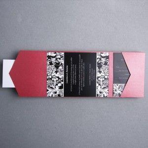 Faire Part Mariage Noir Et Blanc Classique Pochette Rouge Chic Jm316 Weddinginvitations
