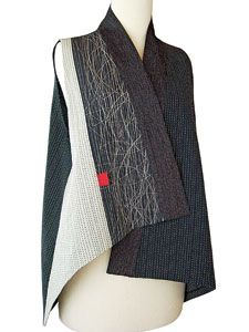 "ASYMMETRICAL VEST of Japanese cotton, silk, handwoven cotton; stitched, pieced, layered, quilted, shrunk, 2011. Juanita Girardin ""My built fabrics are very dependent on the stitch as a design element"" I mean, how much can you take away and still have something to say?"""