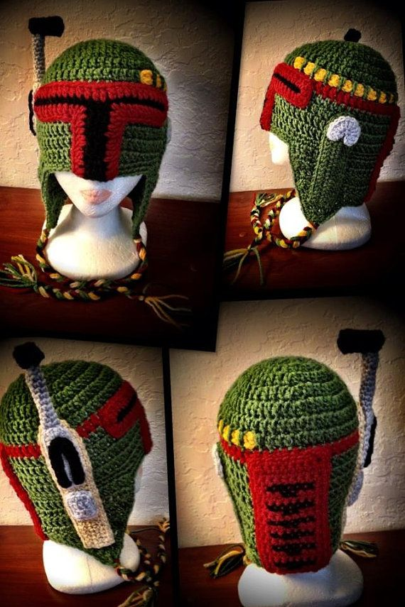 Star Wars Bounty Hunter Boba Fett Inspired Crochet Hat - LOL!! @Jessica Scheaffer - don't show this to you-know-who!! I'll be making that next!!