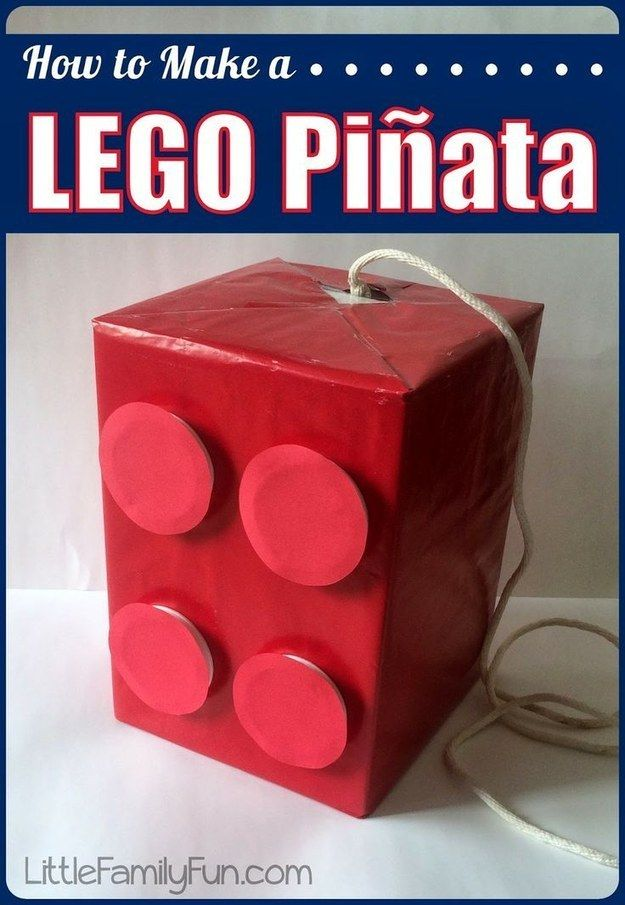 Craft a Lego piñata and fill it with candy AND Lego bricks.                                                                                                                                                                                 More