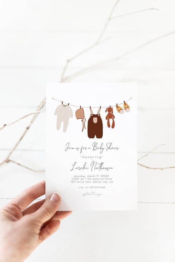 Clothesline Baby Shower Editable Invitation Boho Gender Etsy In 2021 Boho Baby Shower Invitations Baby Shower Templates Baby Shower Invitations