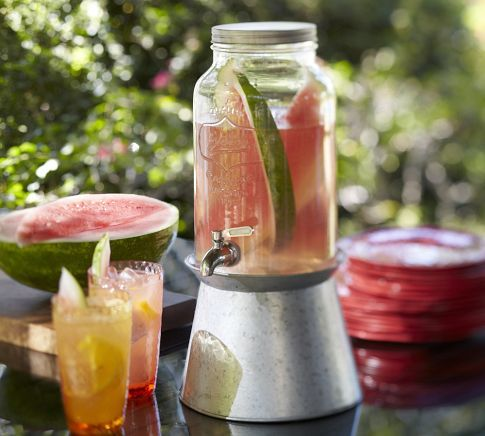 1.5 gallon mason jar drink dispenser $70  Galvanized stand sold separately  Pottery Barn