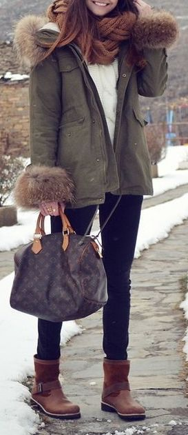 #Winter #Outfits / Green Parka + Heavy Knit Brown Scarf