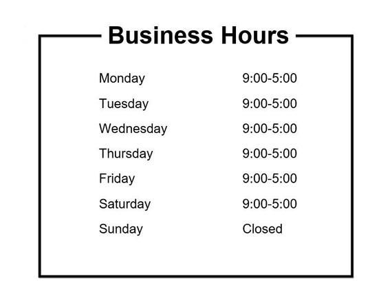 Business Hours Sign Hours Of Operation Sign Customize And Printable Template Microsoft Word Doc Digital Download Business Hours Sign Microsoft Word Document Words
