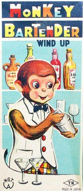 wind-up monkey bartender will make you a banana daiquiri