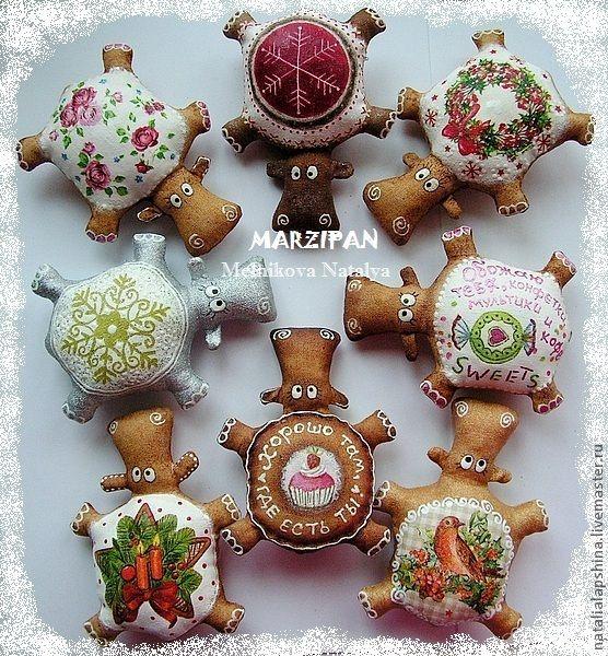 Купить Новогодние Бегемотики (магниты) - бегемотик, магнит, кофе, красный, кофейная игрушка, ароматная игрушка