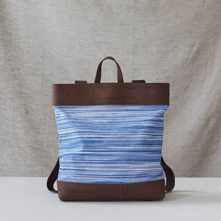 Catherine Dang Elm backpack made from ikat fabric & cork textile. Handcrafted in Geneva, Switzerland.