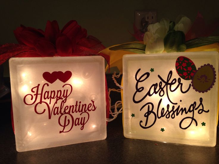 Easter and Valentine glass block fronts