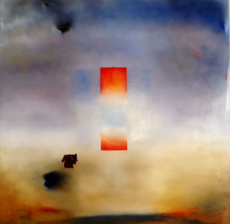 "Patrick Michel  ""A.C. Looming II"" 2010   Oil, rust on canvas.                  36 x 36"