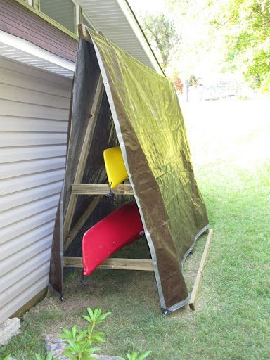 This might work to store my kayak for the winter months: homemade kayak rack storage unit