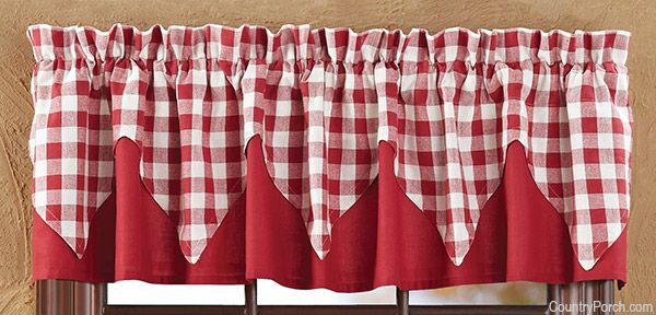 Buffalo Red Check Layered Curtain Valance